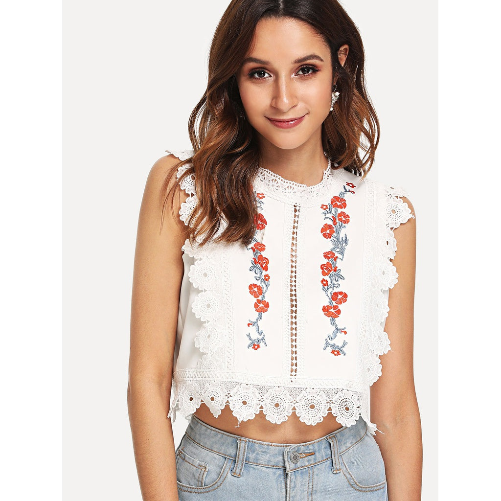 Flower Embroidered Lace Applique Top