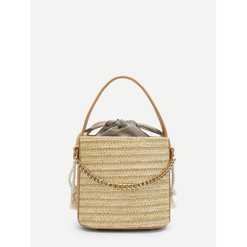 Bucket Straw Bag With Chain - Iconette
