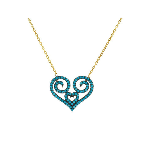 Turquoise Heart Shape Necklace Women - Jewelry - Necklaces- Iconette
