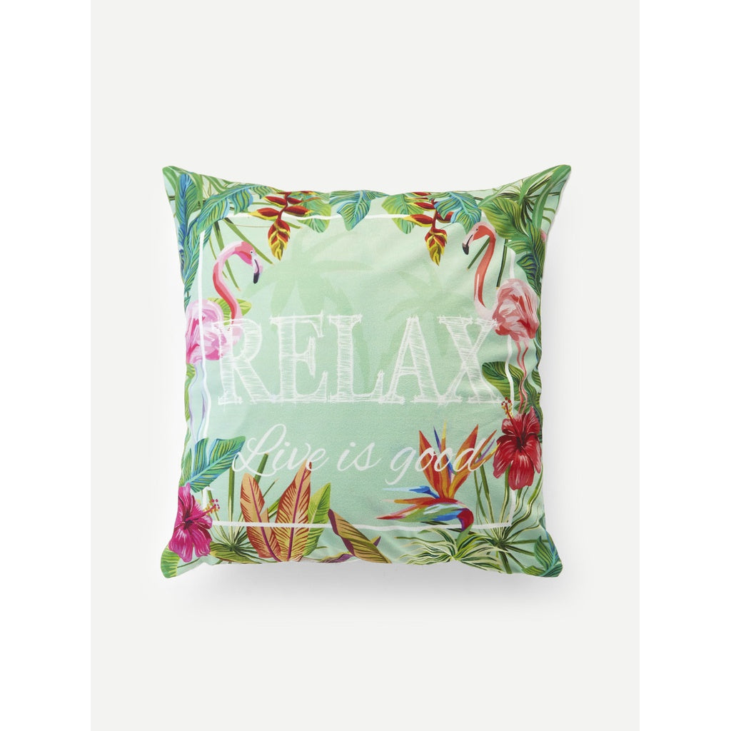 Flamingo & Tropical Print Cushion Cover - Iconette