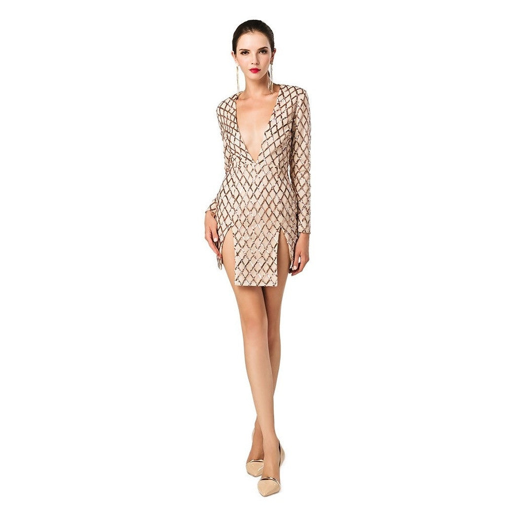 Marion Sequined Plunge Dress Women - Apparel - Dresses - Day to Night- Iconette