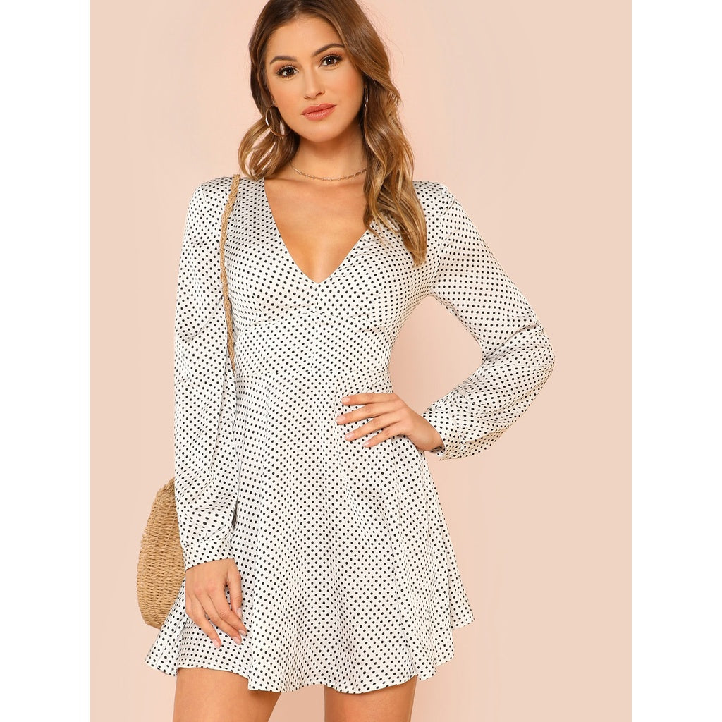 Ella Knot Back Fit & Flare Polka Dot Dress - Iconette