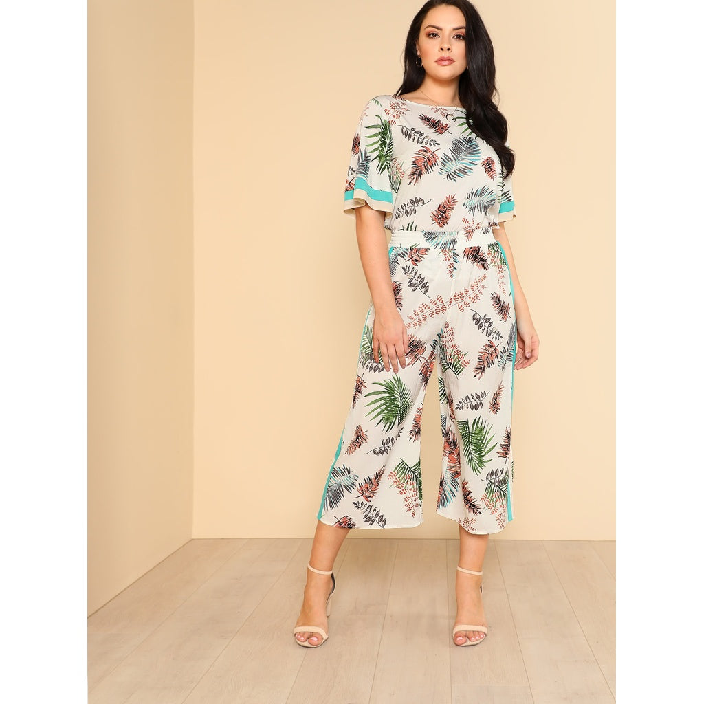 Mina Striped Panel Tropical Top & Culotte Pants Set - Iconette
