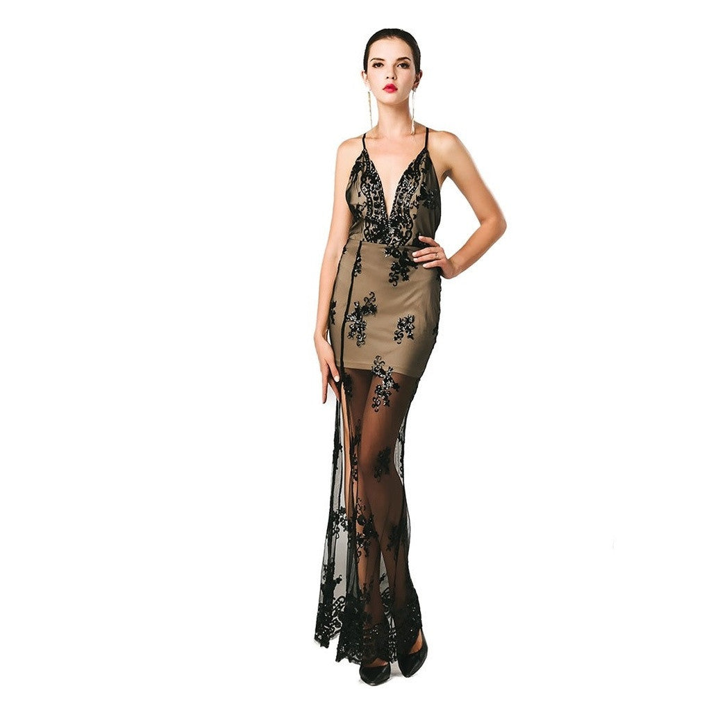 Lome Sequin Gown With Lace Detail Women - Apparel - Dresses - Evening- Iconette