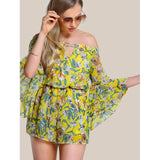 Anira Floral Print Off Shoulder Trumpet Sleeve Romper YELLOW