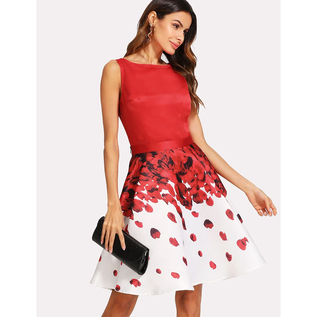 Kay Sleeveless Top And Rose Petal Print Skirt Set - Iconette
