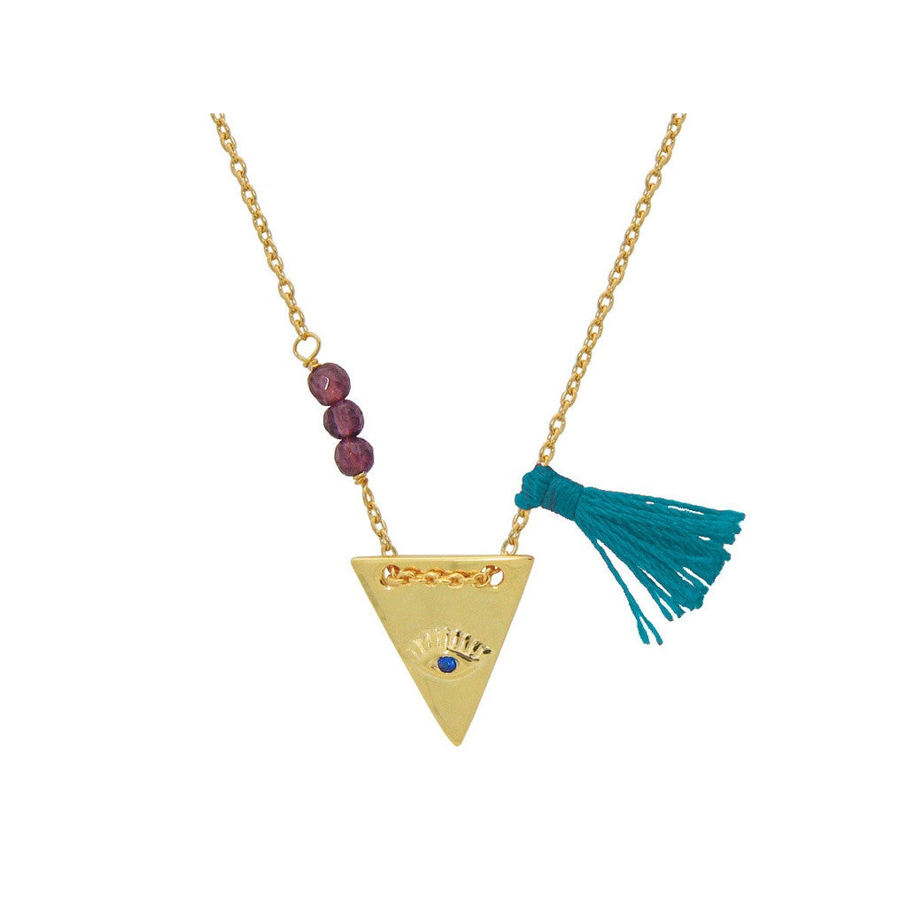 Eye Pyramid, Garnet & Teal Tassel Necklace in Vermeil Women - Jewelry - Necklaces- Iconette