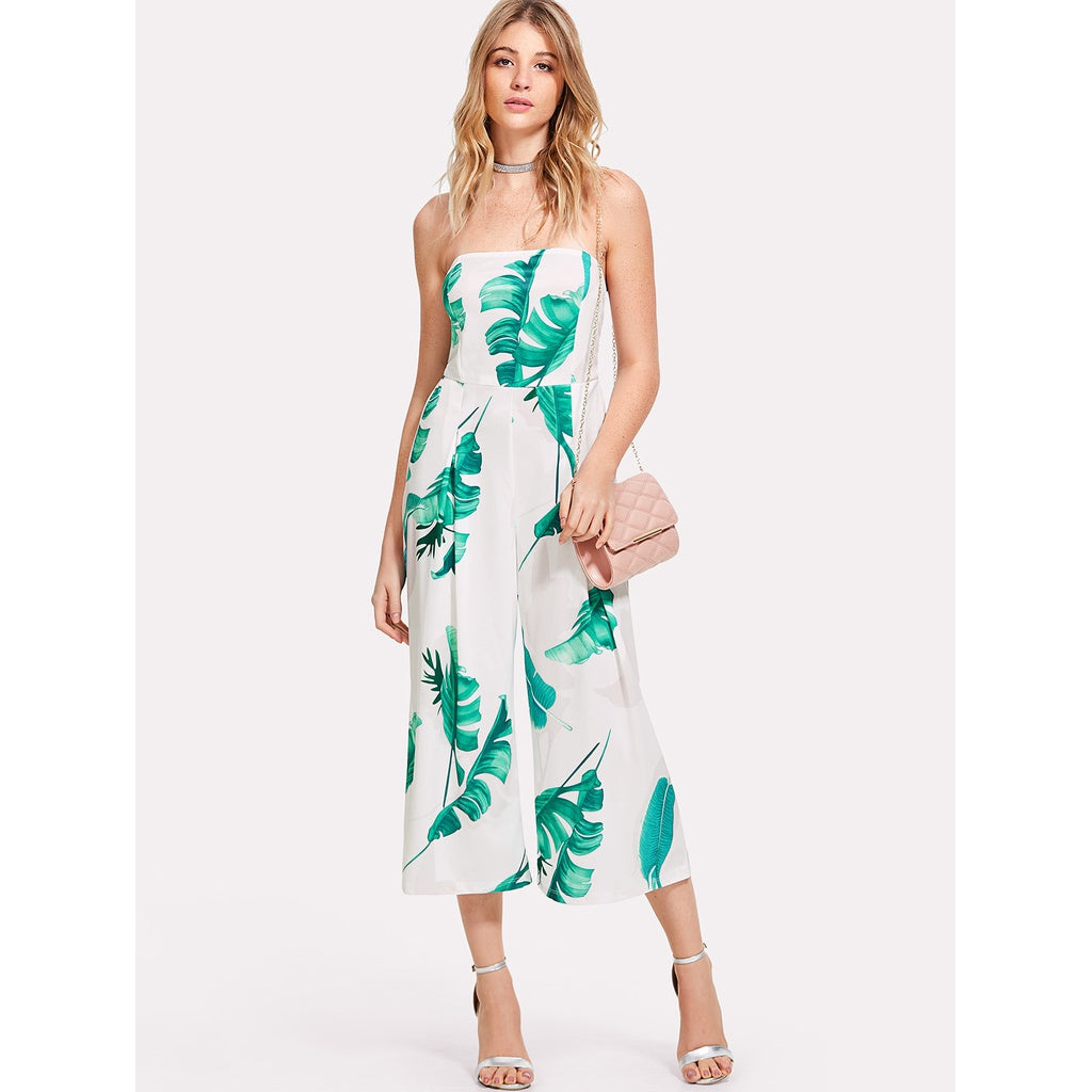 Alda Palm Leaf Print Tube Jumpsuit - Iconette