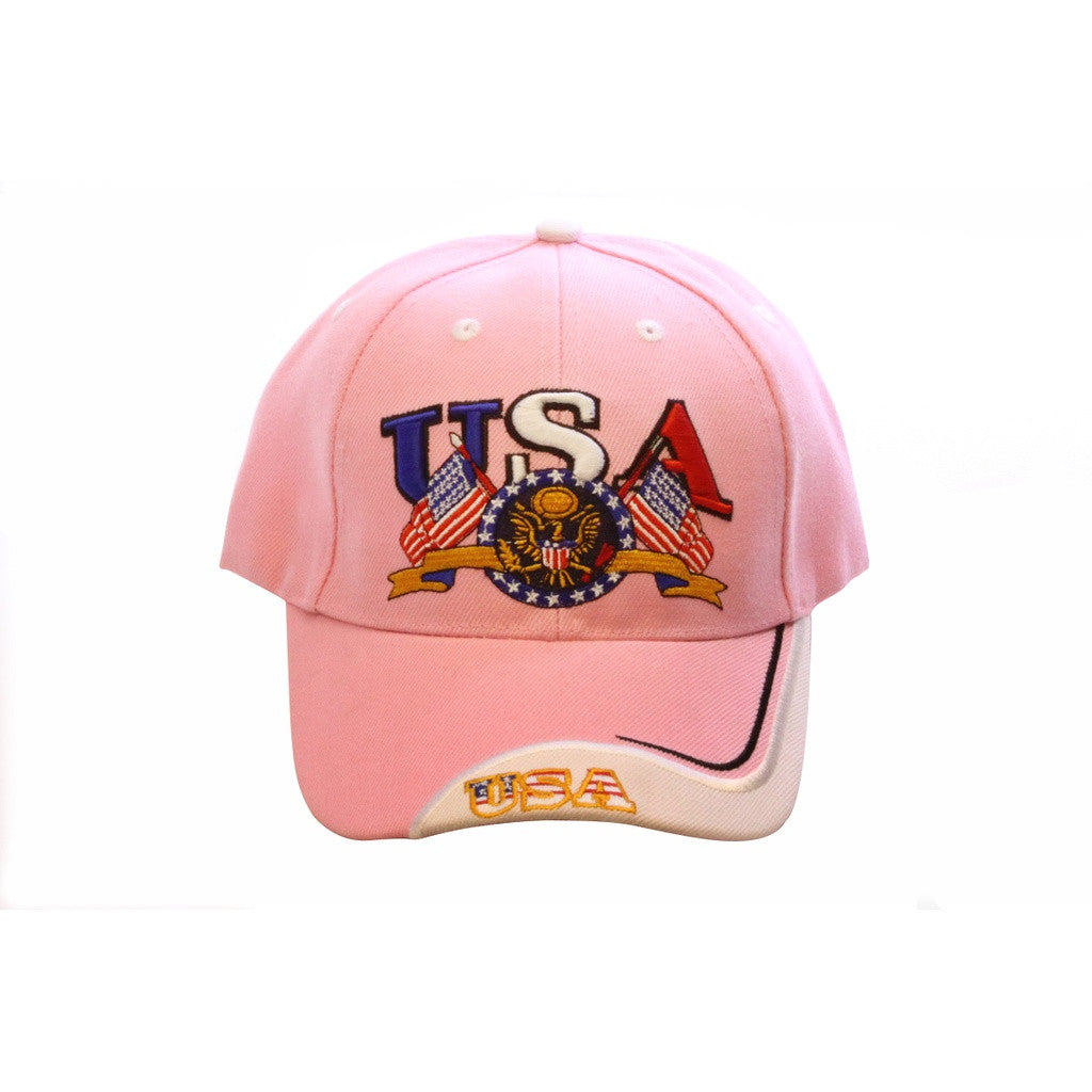 "4th of July Special ""Pink USA Embroidered Baseball Cap"" Women - Accessories - Hats- Iconette"