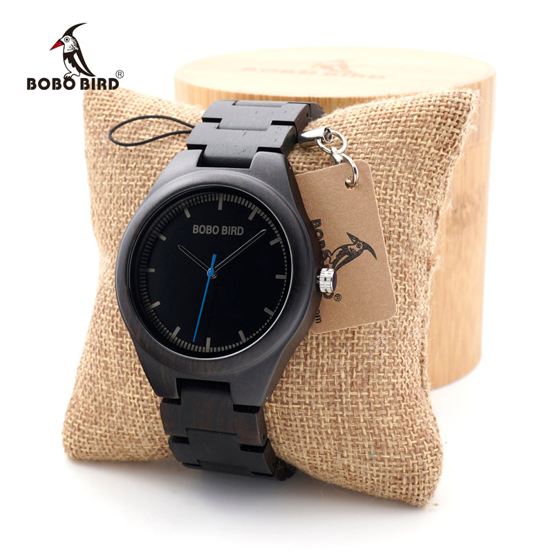 BOBO BIRD Ebony Wooden watches Quartz Men's Dress Wristwatch Analog Japanese Movement clock With Wood links In Bamboo Box - Iconette