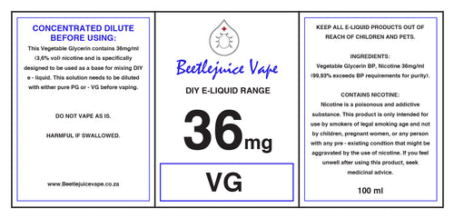 DIY Nicotine 36mg/ml VG 500ml