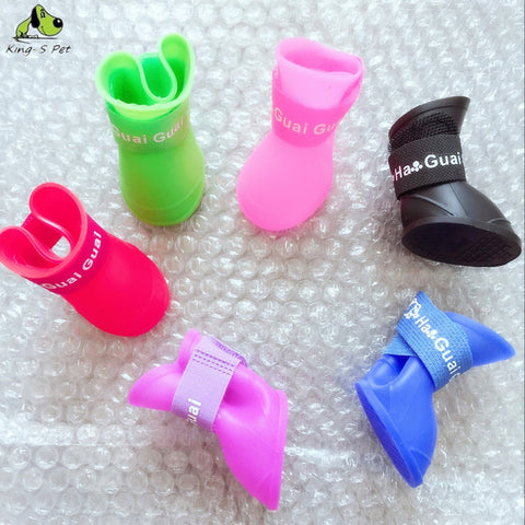 Silicone Waterproof Dog Boots - 4 Piece Set - various colors