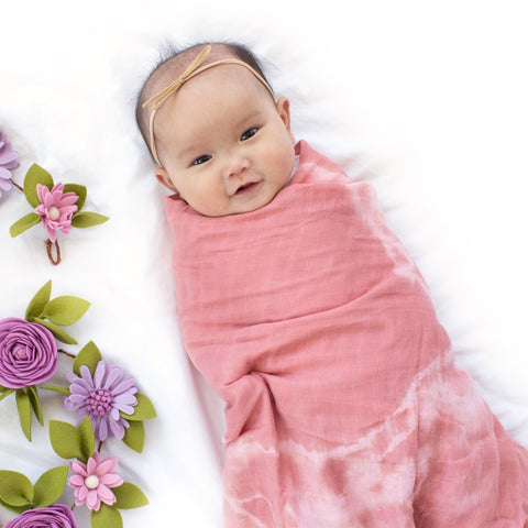 Bamboo Muslin Baby Wrap Swaddle perfect newborn gift for babyshower. Hand dyed tiedyed shibori style