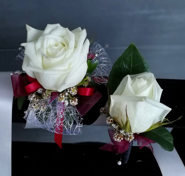 Matching Single Flower Corsage & Buttonhole Set