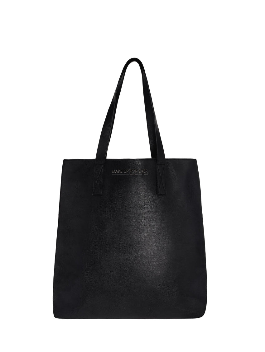 Black Faux Leather Tote