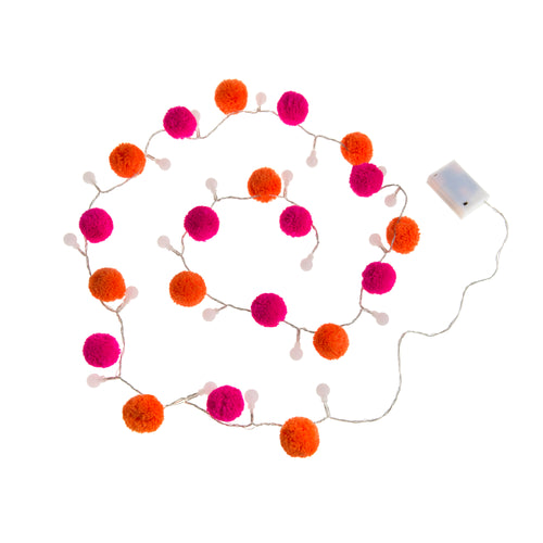 Pom Pom LED lights - Orange & Pink