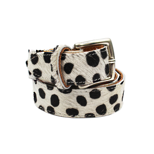 Leather Belt - Dalmatian Print