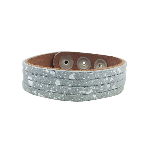 thin cuff mottled silver