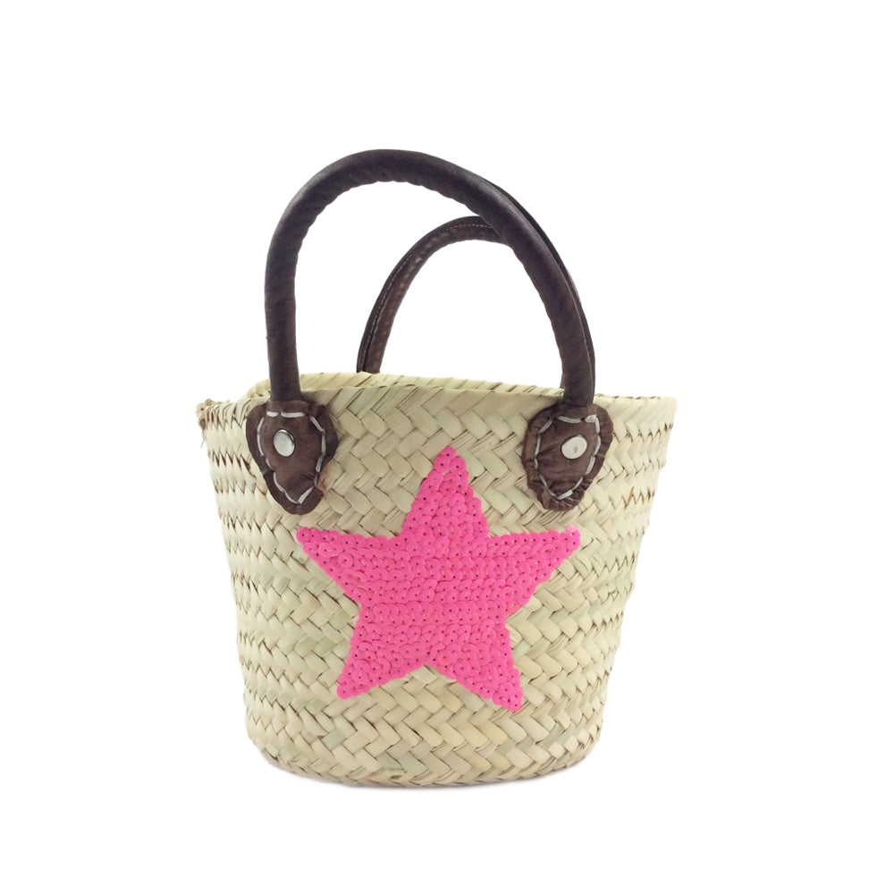 Mini sequin star basket - neon pink
