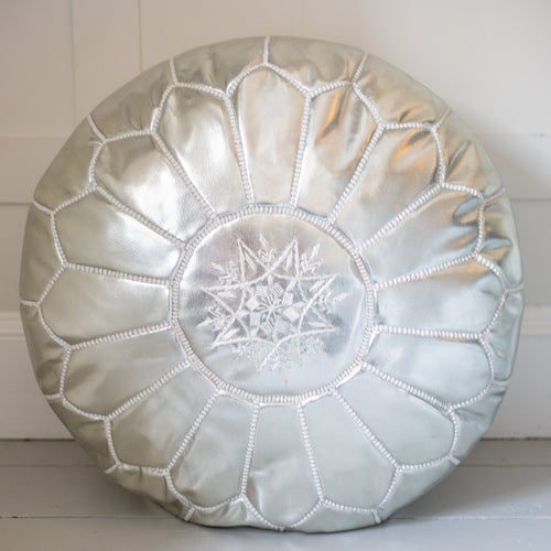 Leather Pouffe - silver