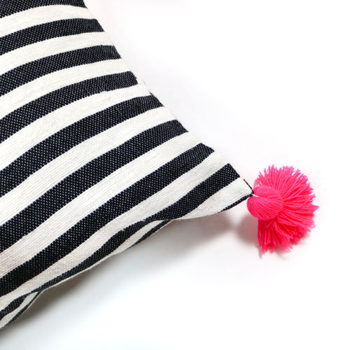 Black and White Stripe Rectangle Cushion