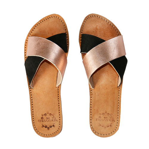 Leather Sliders - Black and Rose Gold
