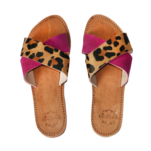 Leather Sliders - Fuchsia and Leopard Print
