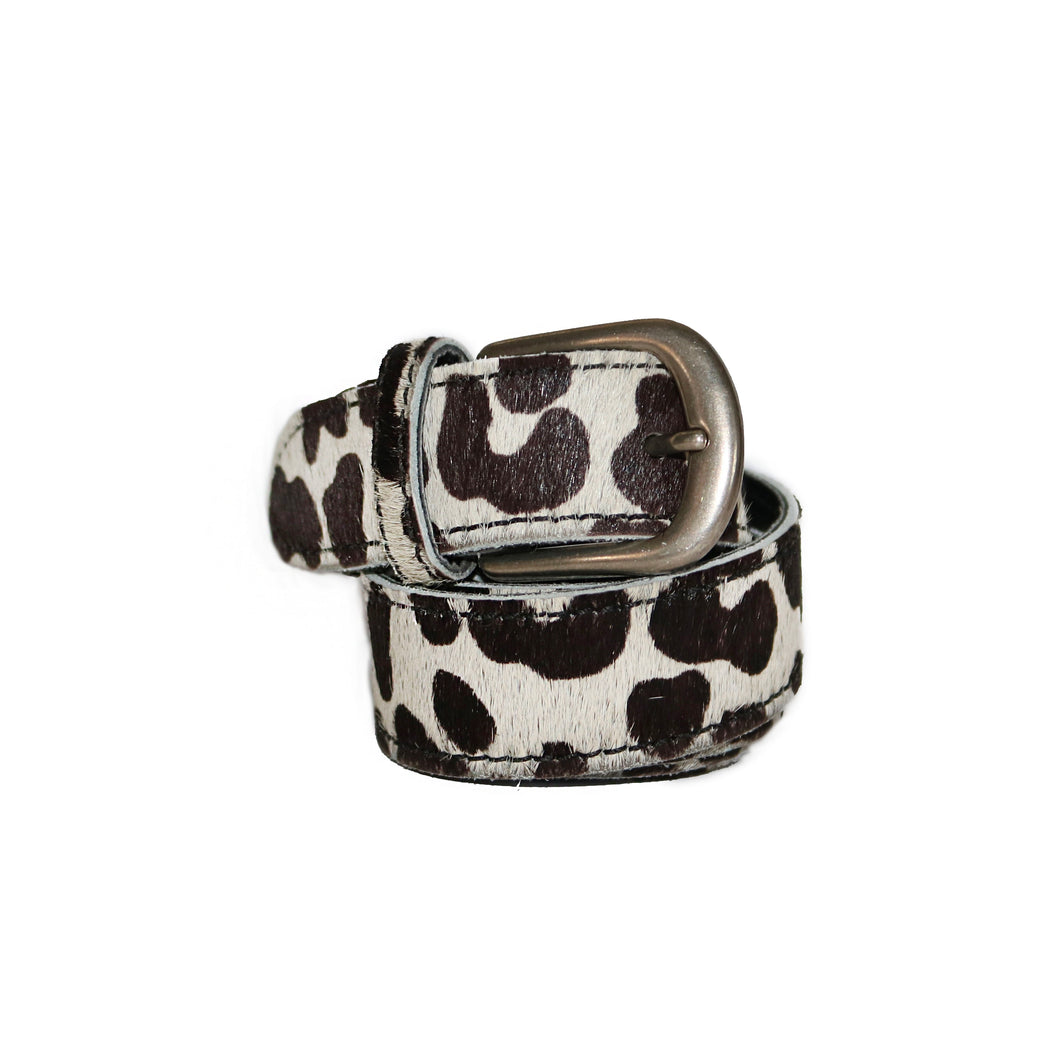 Leather Belt - Black and White Leopard Print