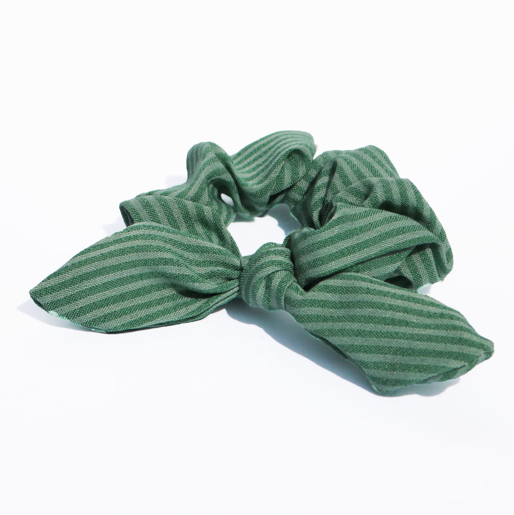 Green Stripe Bow Scrunchie