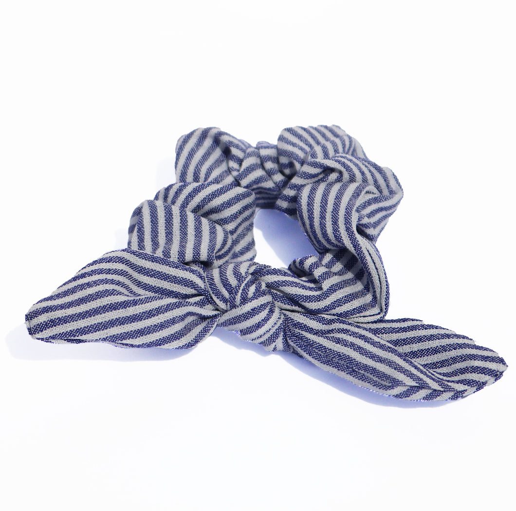 Blue Stripe Bow Scrunchie
