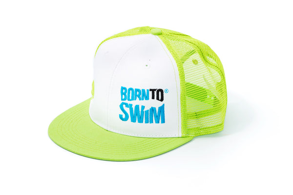 Born To Swim Embroidered Logo Hat Neon Green