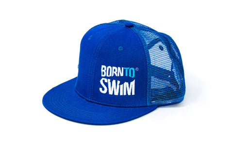 Born To Swim Embroidered Logo Hat Blue