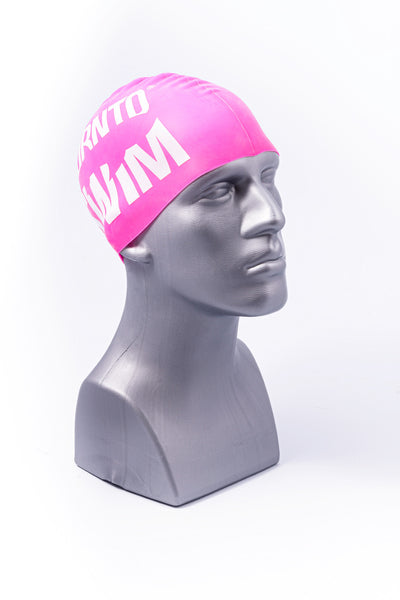 Regular Silicone Swim Cap - Light Pink with White Logo - FREE