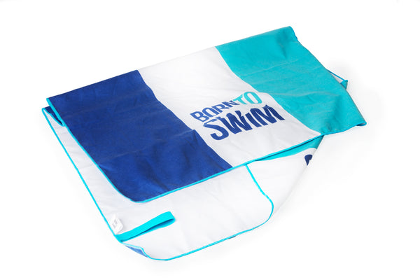 Microfiber Towel with Broad Stripes and Logo