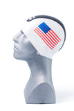 Seamless Silicone Premium Swim Cap - White with US Flag and Stripe