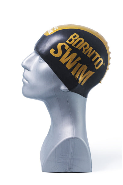Seamless Silicone Premium Swim Cap - Black with Gold Stripe and Large Logo