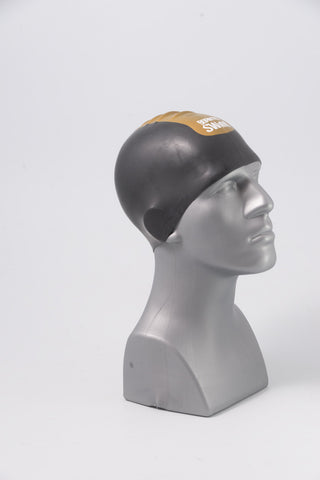 Seamless Silicone Premium Swim Cap - Black with Gold Stripe and Logo