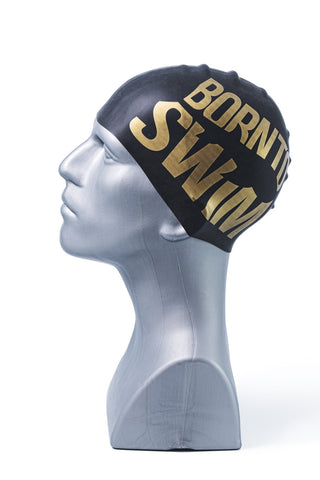 Seamless Silicone Swim Cap - Black with Gold Logo