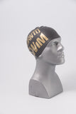 Regular Silicone Swim Cap - Black with Gold Logo