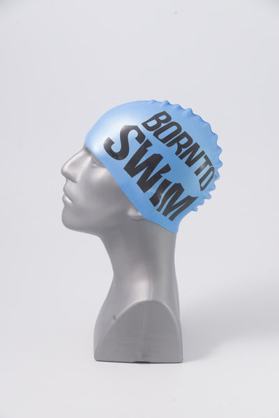 Regular Silicone Swim Cap - Metallic Blue with Black Logo - FREE