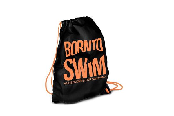 Swim Gear String Bag - Black with Orange Logo