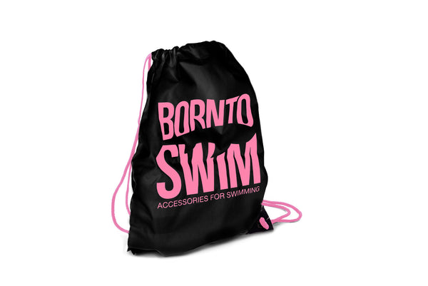Swim Gear String Bag - Black with Pink Logo