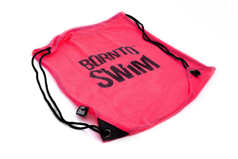 Swim Gear String Mesh Bag - Pink with Black Logo