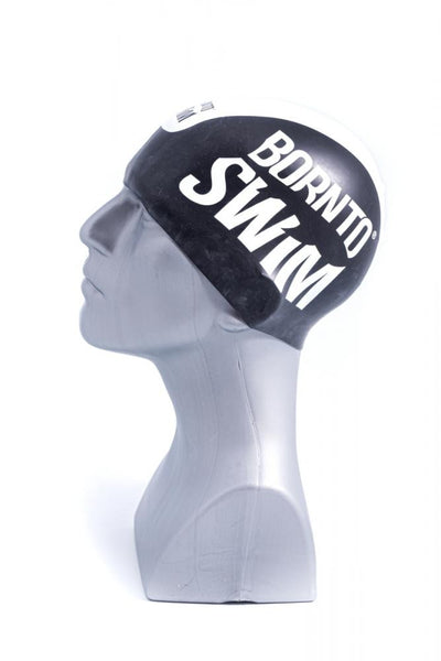 Seamless Silicone Premium Swim Cap - Black with White Stripe and Large Logo