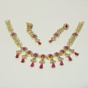 Hnk 631 Gold plated necklace set (Ruby)