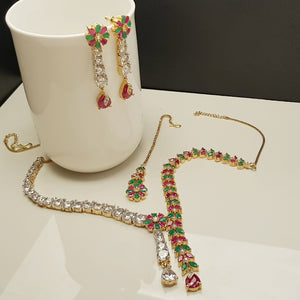 Hnk 546 Gold plated necklace Set (Multi)
