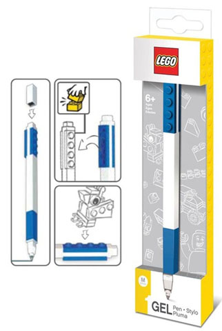 LEGO Refillable Blue Gel Pen with 1x4 Brick Tile