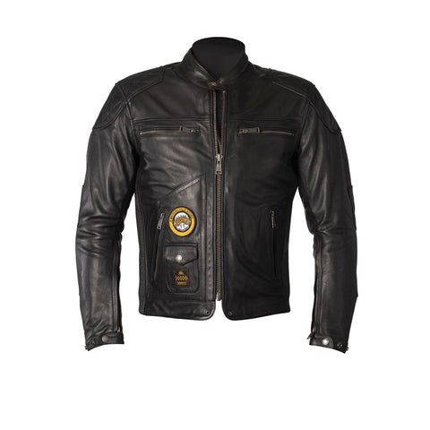 HELSTONS TRACKER LEATHER JACKET - RAG BLACK