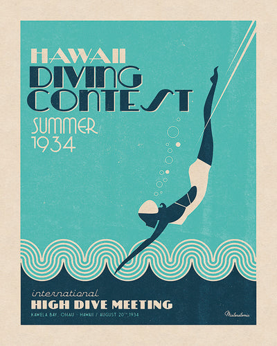 Affiche déco 'Hawai Diving Contest' - SOLD OUT