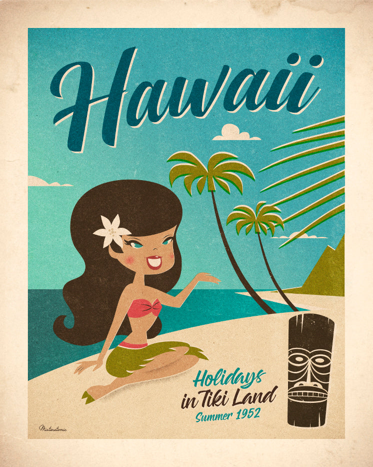Affiche déco 'Hawaii Summer 1952'